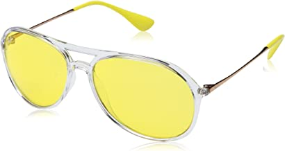 Ray-Ban Men's Alex 0RB4201 Aviator TRANSPARENT Yellow Mirror Red 59 mm