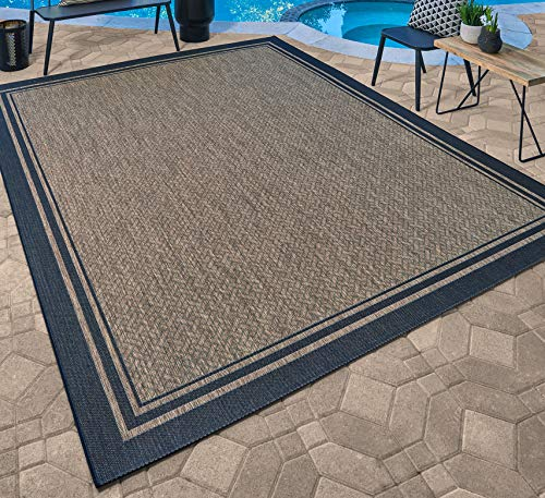 Gertmenian 21358 Nautical Tropical Carpet Outdoor Patio Rug, 5x7 Standard, Border Black