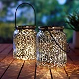 Solar Mercury Glass Jars 2 Pack Outdoor Table Lamps (Silver)