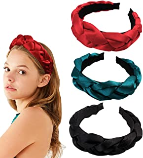 3 Pack Crystal Satin Braided Padded Headband Women Hair Band with Bright and Dustproof Feature (Red+Black+Green)