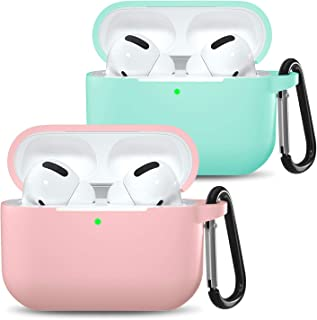 henva case cover compatible with airpods pro case, protective silicone cover skin for airpods pro charging case with keychain, pink/ocean blue