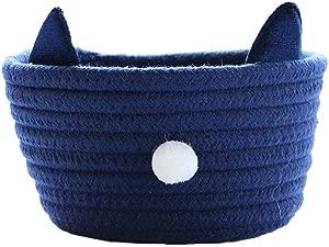 Inwagui Cotton Rope Storage Box Mini Storage Basket Bin Hamper for Nursery Kid s Room Office Organiser  Cute Cat Style Navy Blue