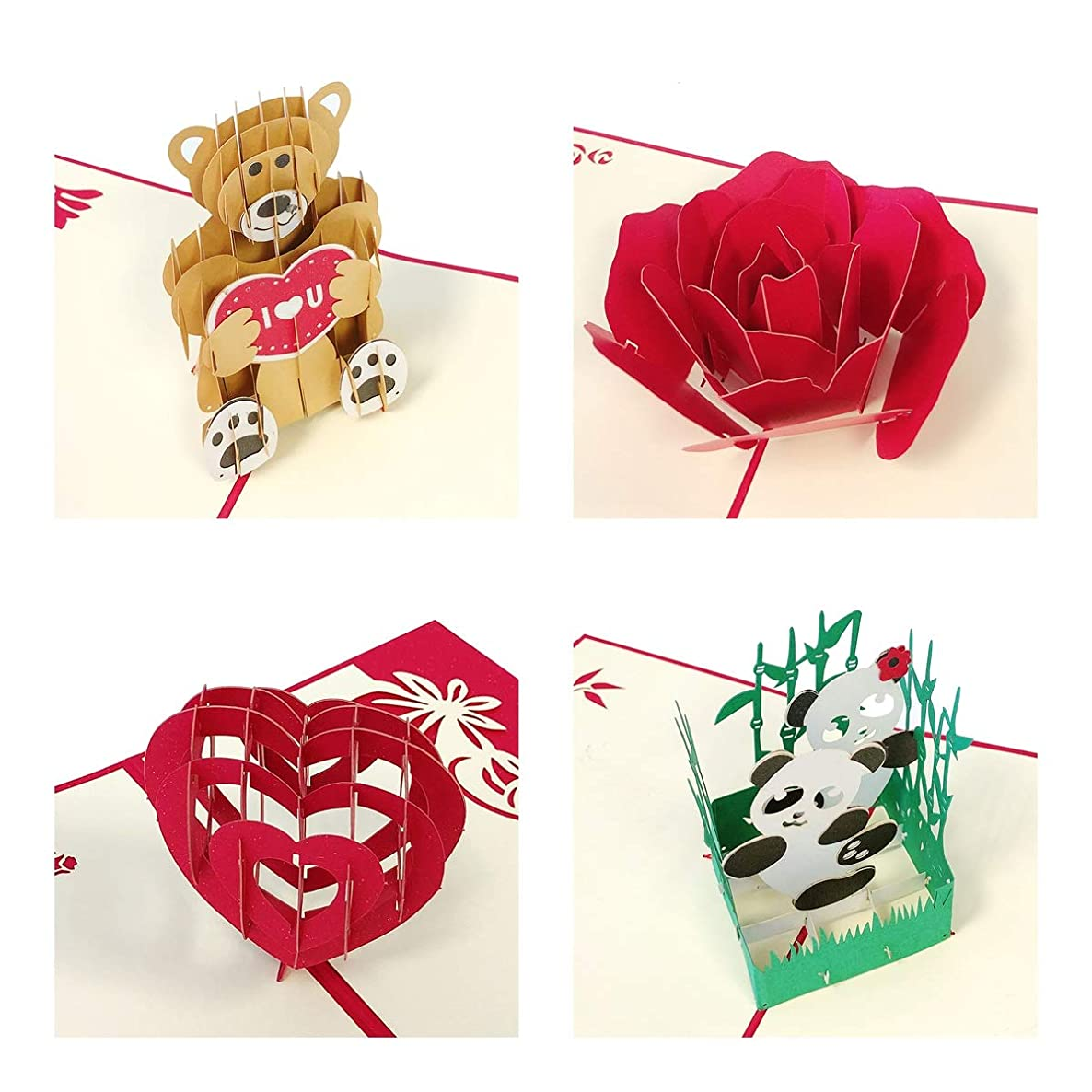 Wrapables A71372c 3D Pop Birthday, Thank You, Anniversary, Wedding, Holidays (Set of 4), Panda, Bear, Heart, Rose Bloom Greeting Cards,
