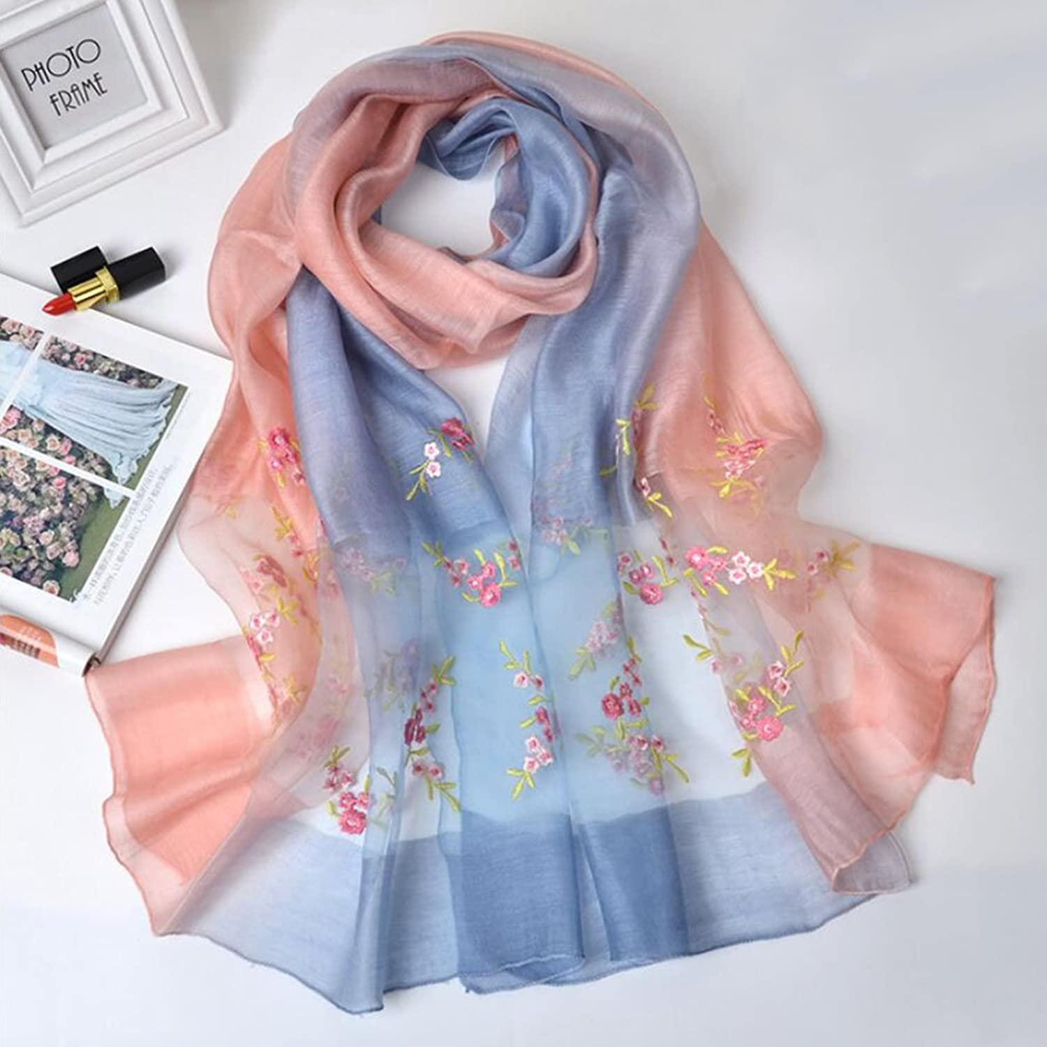 Woman shawl Women Scarf Flower Embroidered Lace Scarf Long Soft Wrap Shawl Stole Pashmina Home Decoration ( Size   3 )