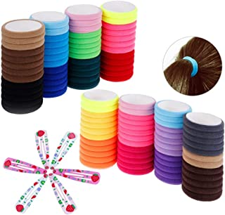 TRIXES Pack of 50 Cotton Hair Band Stretchy Ties - 6PC Colourful Snap Clips –Assorted Colours