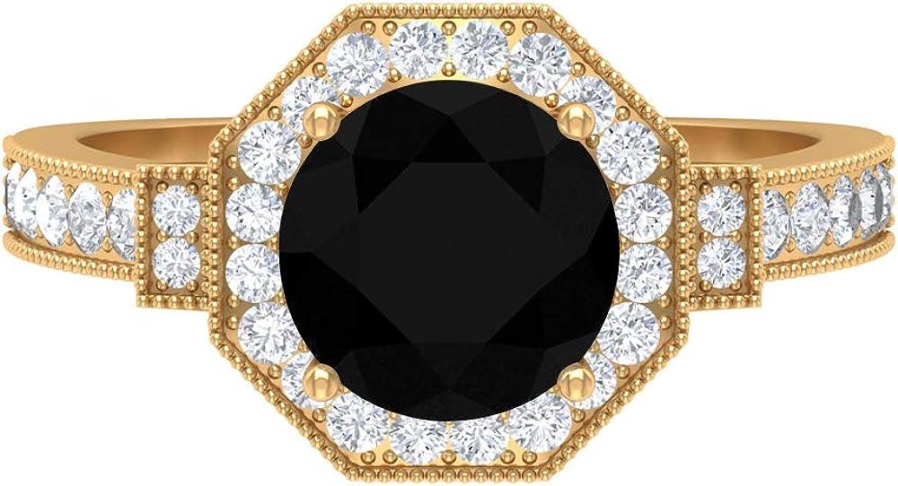 Antique Hexagon Engagemen Ring, 2.3 CT D-VSSI Moissanite, 8 MM Black Spinel, Vintage Bridal Solitaire Ring, Wedding Anniversary Ring, 14K Solid Gold
