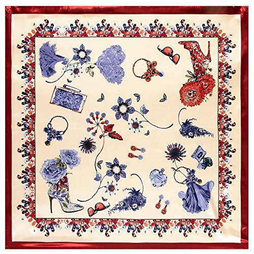 WEJNNI nagemaakte zijden sjaal 90 cm * 90 cm extra parfumzak-dames bigscarf