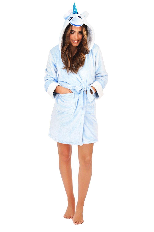 Kids Xmas Girls Novelty 3D Dressing Gown Soft Fleece Bathrobe House coat Gift