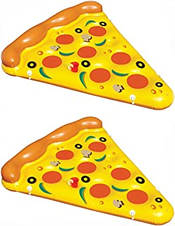 Premium BiggerKids Giant Inflatable Pepperoni Pizza Slice Pool Toy Raft 6 Foot Floatie Float