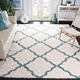 SAFAVIEH Dallas Shag Collection SGD257J Trellis Non-Shedding Living Room Bedroom Dining Room Entryway Plush 1.5-inch Thick Area Rug, 6' x 9', Ivory / Light Blue