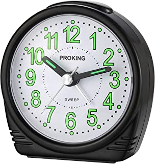 Alarm Clock,Silent No-Ticking Bedside Analog Alarm Clock,Small Lightweight Travel Quartz Alarm Clock,With Snooze And Light,Large Digital Dial Easy To Set,Battery Operated,Best For Elder/Kids (black)