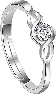 Yellow Chimes Elegant Crsytal Adjustable Silver Ring for Women (YCFJRG-314ENG-SL)