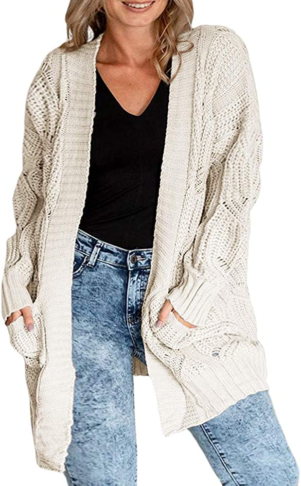 Womens Boho Open Front Cardigans Plus Size Cable Knit Long Sleeve Lightweight Loose Sweaters Outerwears