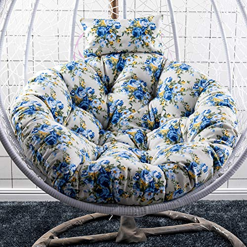 GE&YOBBY Fabric Floral Swing Chair Cushion,Hanging Seat Cushion Without Stand,Washable Round Seat Pad for Swing Wicker Rattan Egg Chair Hammock Garden Padio K 41inch