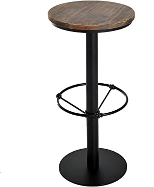 """HOMCOM 42"""" Rustic Industrial Metal Pine Wood Top Bar Height Adjustable Standing Pub Table"""