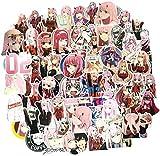 WayOuter Pegatinas Darling in the FRANXX 02 100 Piezas de Pegatinas de Anime para niños, monopatín para Ordenador portátil, Pegatina Impermeable para Coche