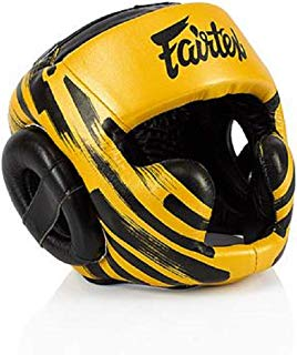 Fairtex Headgear Head Guard Super Sparring HG3, HG10, HG13 Diagonal Vision for Muay Thai, Boxing, Kickboxing (Black/Gold - HG16M2, Medium)