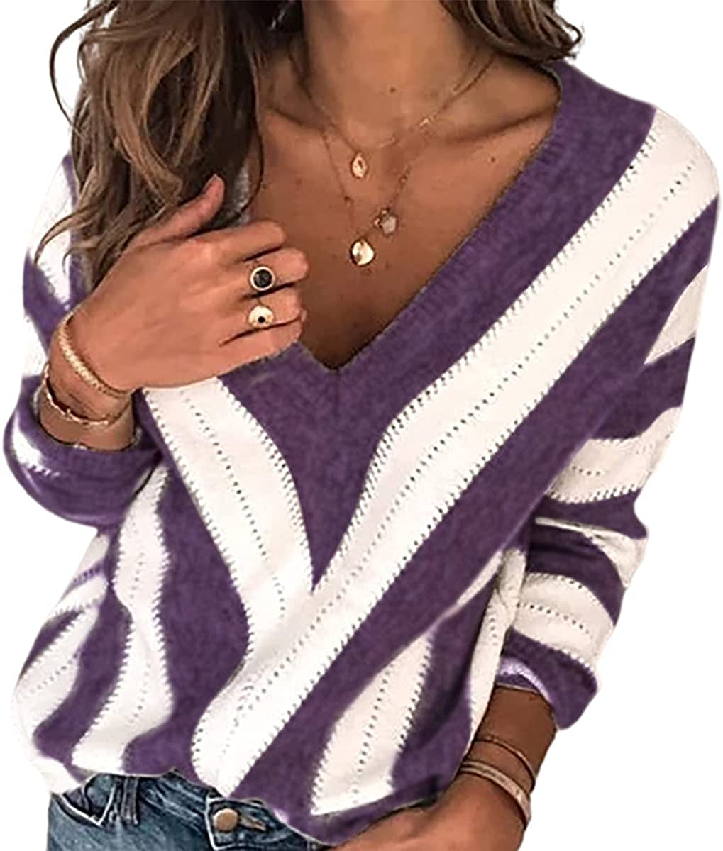 domirica Women's Dallas Mall V-Neck Long Sleeve Loos Knitted Detroit Mall Striped Sweater