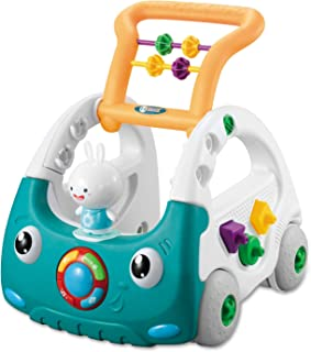 NextX Baby Walker Adjustable Height Adjustable Speed Rear Wheels, 3 in 1 Sit to Stand Learning Walker, Multi-Function Baby Toys with Blocks, Lights, and Beads, for 6-12 Months Toddlers, Boys, Girls