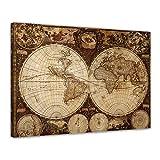 Bilderdepot24 Leinwandbild Weltkarte Vintage 120x90cm -