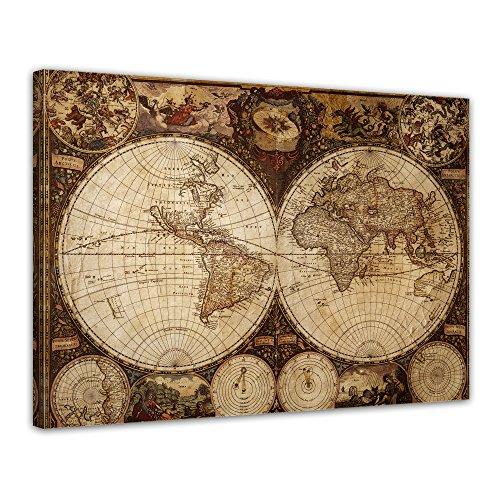 Wandbild Weltkarte Vintage - Bild auf Leinwand - 80x60 cm - Leinwandbilder - Urban & Graphic - Erde - historische Darstellung