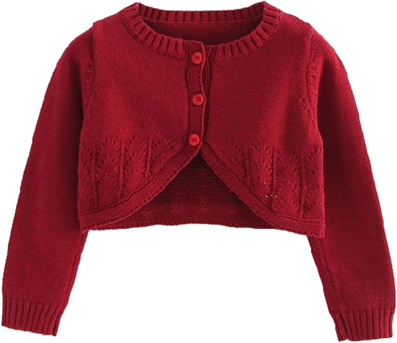 renvena Kids Girls Knit Long Sleeve Bolero Shrug Toddler Button Down School Uniforms Cardigan Dress Cover Up