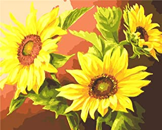 DIY Oil Painting Paint by Number Kit for Kids Adults Beginner 16x20 inch - Beautiful Sunflowers, Drawing with Brushes Chri...