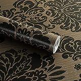 Autocollant Noir Damas papier peint papier Contact Shelf Liner pour tiroir Armoire de cuisine étagères Plans de travail Sticker mural (45x 998,2cm)