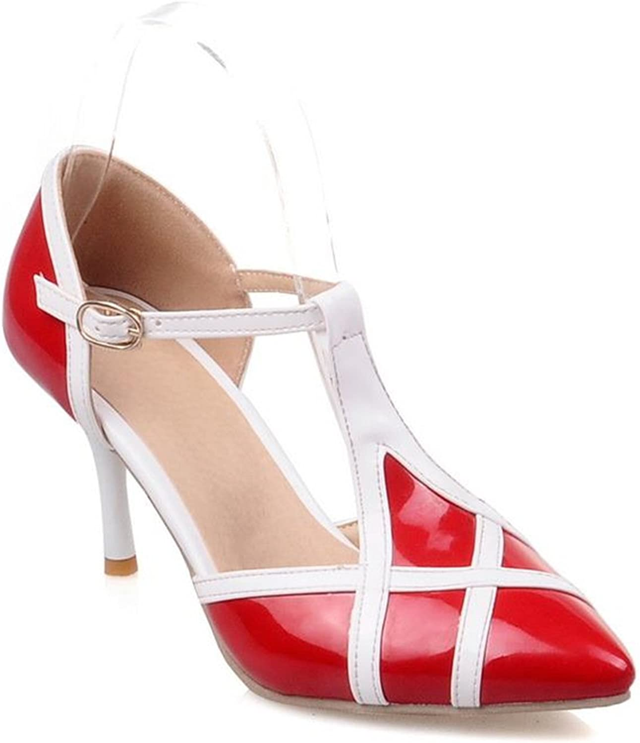 Carlos Foushee Plus Size 34-46 Fashion Stiletto High Heels T Strap Women Pumps Mixed color Pointed Toe Sweet Party Wedding shoes