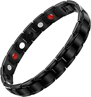 Aqonsie Pure Titanium Magnetic Therapy Bracelet Healthy Fashion Magnetic Bracelet Elegant Wristband Gift for Unisex 4 Element Magnetic Therapy Bracelets Adjustable with Removal Tool(Black)