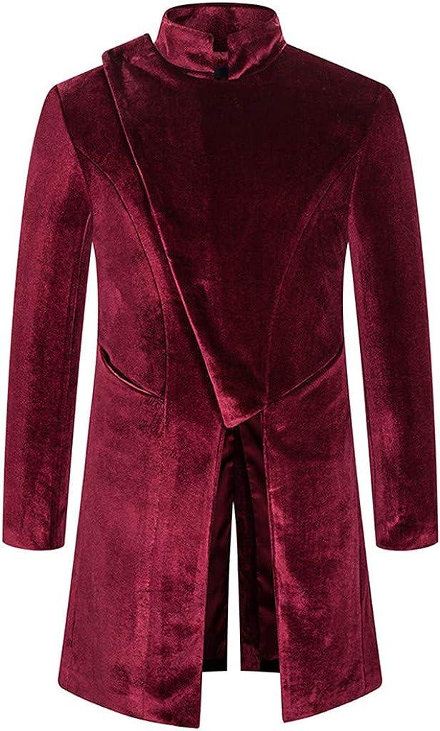 F_Gotal Mens Vintage Dress Formal Suit Notched Lapel Slim Fit Stylish Blazer Dress Suit Jacket Coats Business Lapel Suit