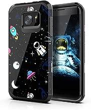 PBRO Galaxy S7 Edge Case,Cute Astronaut Case Dual Layer Heavy Duty Hybrid PC+TPU Heavy Duty Protective Anti-Scratch Shockproof Fit for Samsung Galaxy S7 Edge Space/Black