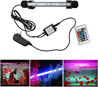 COVOART LED Aquarium Light, 7.5inch Colorful Fish Tank Light Submersible Underwater Crystal Glass LEDs Lights