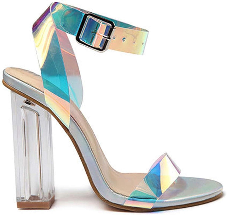 Sexy Summer Transparent shoes Women Sandals High Heels Buckle Strap Ladies Party Square Heel Sandalie 014C3427-45