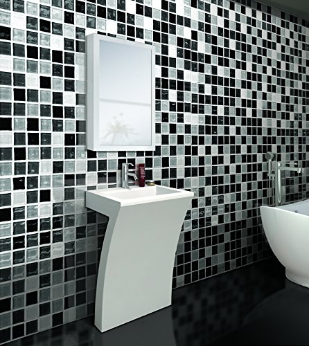 7-Shape Cedar Falls Modern Vanity Pedestal Sink with Medicine Cabinet, White, by Fine Fixtures