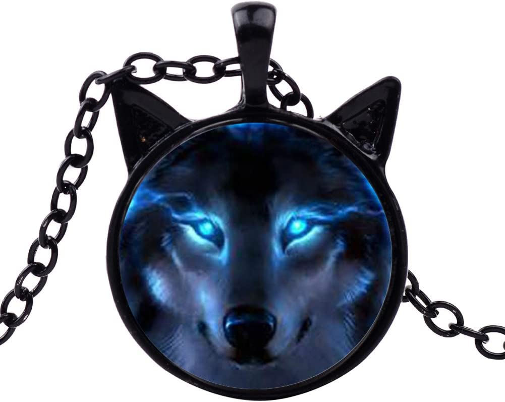 angel3292 Clearance Deals!Unisex Jewelry Retro Wolf Head Pendant Cabochon Long Chain Sweater Necklace