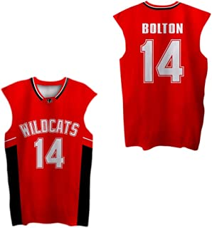 borizcustoms Zac E Troy Bolton 14 East High School Wildcats Red Patch Basketball Jersey
