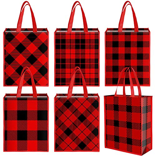 Aneco 12 Pieces Christmas Red and Black Plaid Bags Non-Woven Party Treat Bags Candy Gift Tote Bags 13.8 x 11 x 4.7 Inch for Party Supplies
