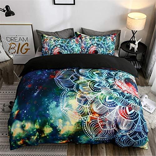 Parure de Lit pour Enfant 3D Galaxy Univers Ciel étoilé Étoiles Lunaire Bohême Style National Mandala Lotus Zen Mandala Coloré imprimé Pourpre Bleu Housse de Couette 173x218 cm
