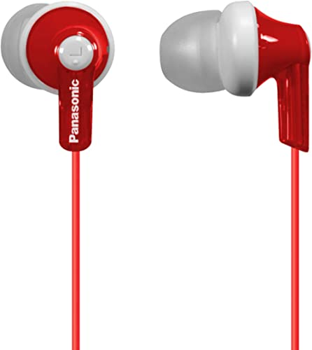 Panasonic ErgoFit in-Ear Earbud Headphones RP-HJE120-R (Red) Dynamic Crystal Clear Sound, Ergonomic Comfort-Fit