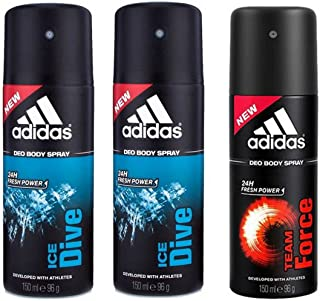 Adidas Ice Dive-2, Team Force-1 Deo Combo Pack , (Pack of 3)