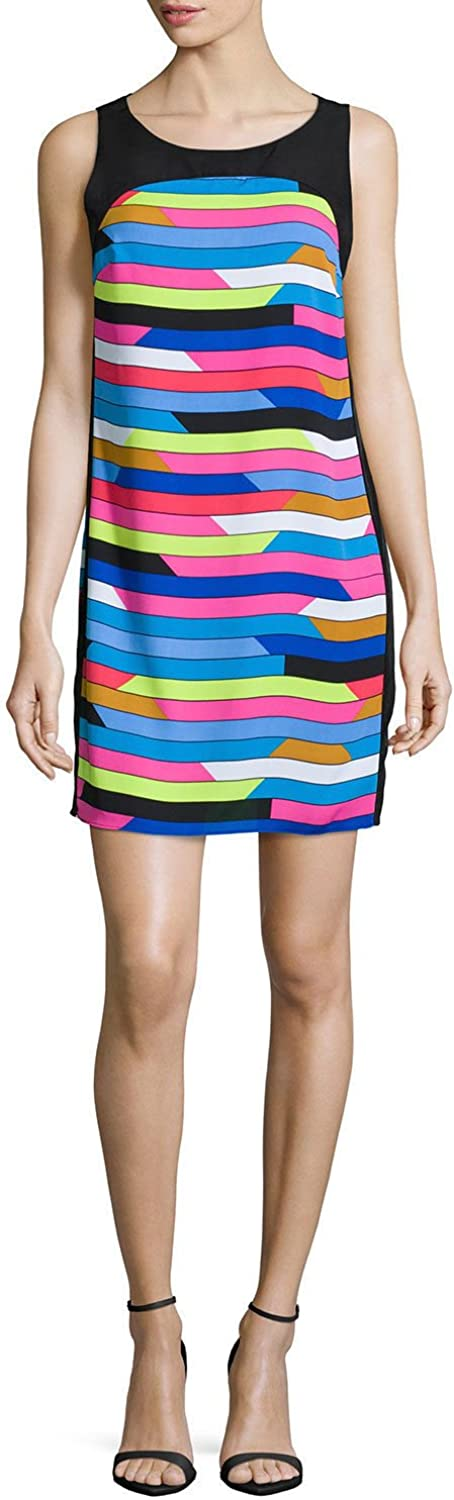 Laundry by Shelli Segal Women's Roy and Andy Crepe Shift Dress Bright Blue Beret Multi Dress 8