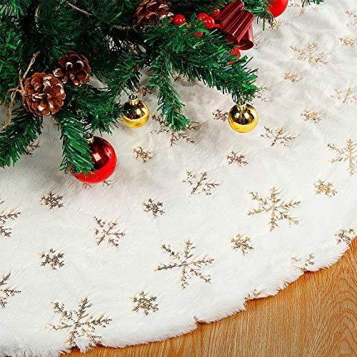 Powerole Weihnachtsbaumrock Baumdecke Weihnachtsbaum, 122CM Weiche Weihnachtsbaumdecke Weißer Kunstpelz Teppich mit Goldenes Schneeflocke Muster für Weihnachtsfeiertags Dekoration Baumschmuck