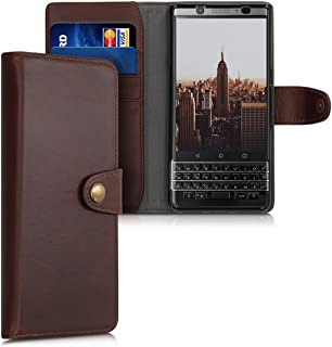 kalibri Wallet Case for BlackBerry KEYone (Key1) - Real Leather Cover with Snap Button Closure and Card Slots - Dark Brown