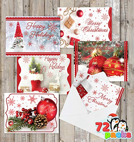 72 Christmas Holiday Greeting Cards Foil Collection with 6 Unique Festive Designs & Envelopes for Winter Christmas Season, Holiday Gift Giving, Merry Xmas Gifts Cards