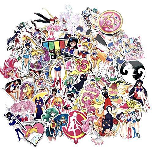 SGOT Jojos Aufkleber, One Piece Stickers, Wasserdicht Vinyl Demon Slayer Stickers, Anime Decals für Auto Motorräder Gepäck Skateboard Laptop Aufkleber(75 Stück Sailor Moon)