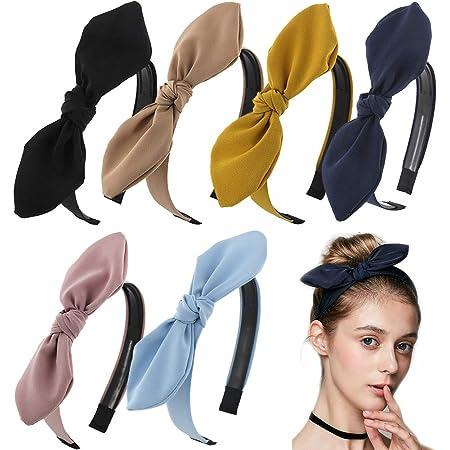 Frauen Bunny Rabbit Ears Twist Bow Wired Stirnband Haarband Yoga Head Wraps