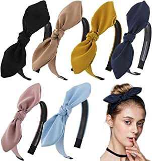 Carede Solid Bow Headbands for Women Twist Knot Headbands Wired Rabbit ears Plastic..
