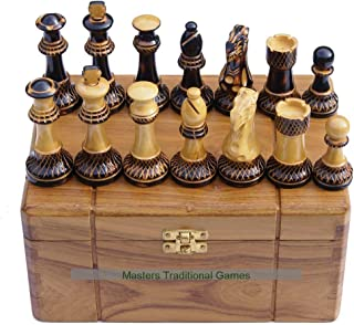 Masters Traditional Games Jester 10x10 Chess Set - Burnt Wood in Teak Box (no Board)