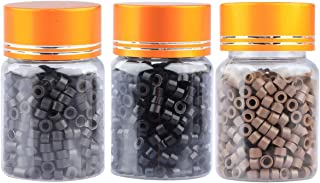 1500 pcs 5mm Silicone Lined Micro Beads, Micro Link Rings Lined Beads Stick for Hair Extensions (BLACK&LIGHT BROWN&DARK BROWN)